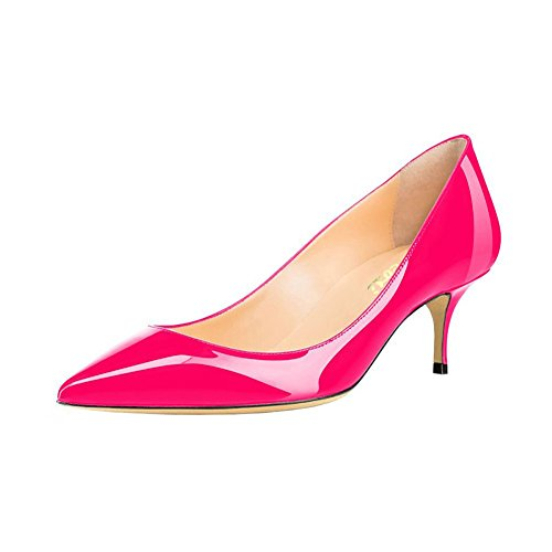 (VOCOSI Women's Closed Pointed Toe Low Kitten Heel Wedding Party Dress Pumps Rose Red 9 US)