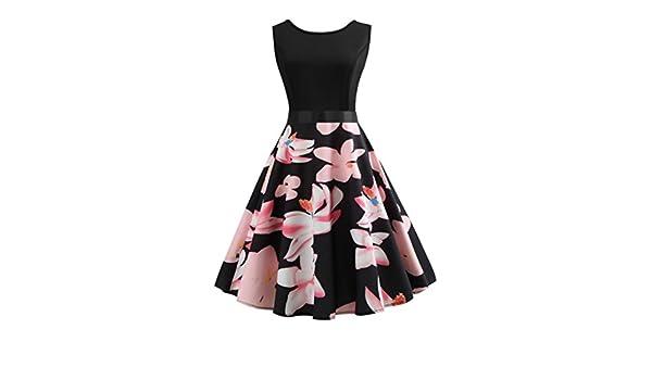 SANFASHION Bekleidung - Vestido - Trapecio o Corte en A - Sin Mangas - para Mujer Rosa X-Large: Amazon.es: Ropa y accesorios
