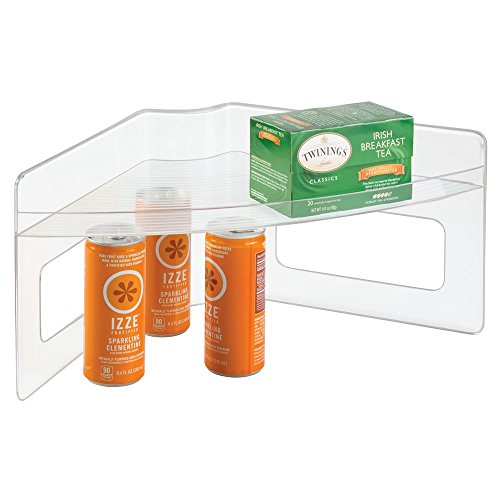 (mDesign Plastic Kitchen Cabinet Lazy Susan Food Storage Organizer Raised Shelf Tray - 2 Tier, Pie-Shaped, 1/4 Wedge - Organize Soup Cans, Pasta, Tea, Coffee, Spices, Jars, Bottles, Boxes - Clear)