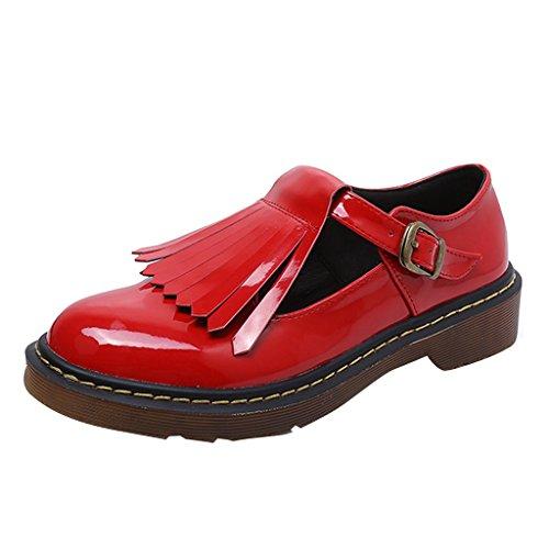 Dear Time Women Tassels Buckle Oxfords Shoes Red SN01EaerNY