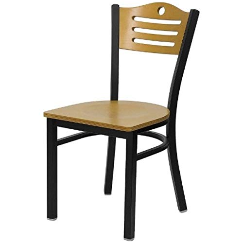 Modern Style Metal Dining Chairs Bar Restaurant Commercial Seats Natural Wood Slat Back Design Black Powder Coated Frame Home Office Furniture - Set of 2 Natural Wood Seat #2200