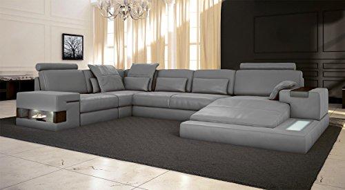 Ledercouch u form  Ledersofa grau Wohnlandschaft Leder Sofa Couch U-Form Ecksofa ...