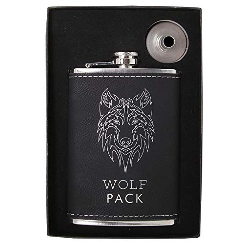 Vastigo 8 oz 18/8 Food Grade Stainless Steel Flask w/Laserable Leatherette Wrap | Comes in Free Gift Box and Funnel -