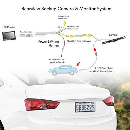 Waterproof Night Vision License Plate Frame Car Rear View Backup Camera Black BT