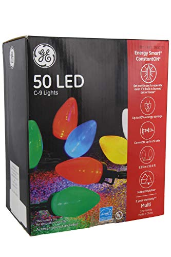 (GE Energy Smart 50 Multicolor LED C-9 Holiday/Christmas Lights - 32.6ft String (Indoor/Outdoor) (1))