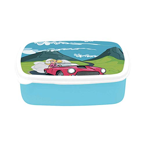 Cars Simple Plastic Lunch Containers,Blonde Girl Driving a Sports Car Through the Country in Cartoon Style Travel Road Trip for home,7.09