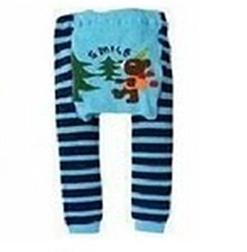 Busha Baby Toddler Unisex Leggings with Adorable Striped and Animal Design Bear Smile Size M 12-24 Months