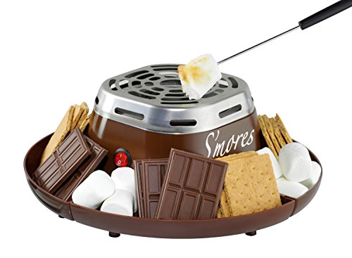 (Nostalgia SMM200 Indoor Electric Stainless Steel S'mores Maker with 4 Compartment Trays for Graham Crackers, Chocolate, Marshmallows and 2 Roasting Forks)