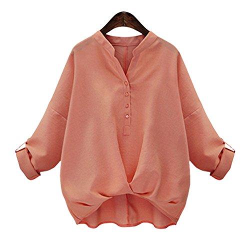 Anguang Donna Irregolare Collo in Piedi Maglietta Maniche Raglan Sciolto Maglie Top Arancia