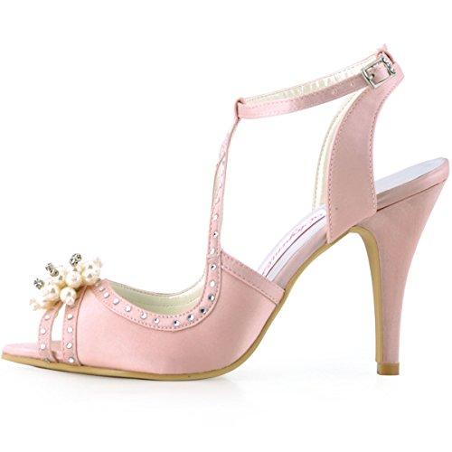 Elegantpark EP11058 Peep Zehen Satin Perlen Strass Stiletto Pumps Damen Sandalen Brautschuhe Pink