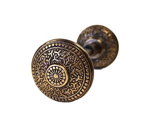 Rice Bronze Finish Vintage Brass Beaded Victorian Arts and Crafts Door Knob ()