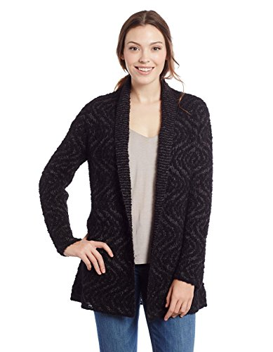 Invisible World Womens Alpaca Pima Cotton Blend Womens Cardigan Swirl Black LG (Cotton Pima Sweater 100%)