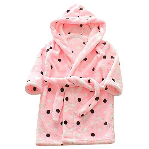 - iLOOSKR Children's Universal Bathrobe Flannel Bathrobe Hooded Printed Pajamas Dual-Use (1-8Y)(Pink,12-18 Months)