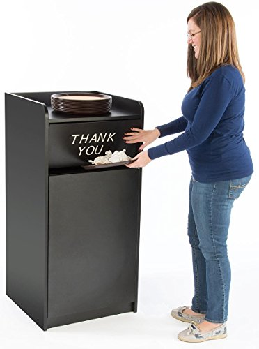 displays2go 36 gallon restaurant fast food trash bin receptacle with door tray holder. Black Bedroom Furniture Sets. Home Design Ideas