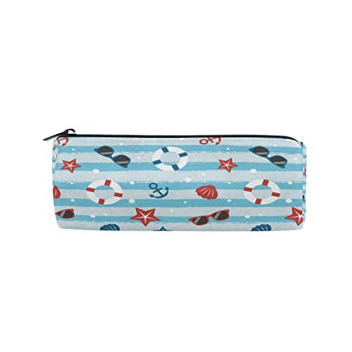 Starfish Seashell Stripes Pencil Bag Pen Case Stationery Pouch Coin Purse with Zipper for School Work Office