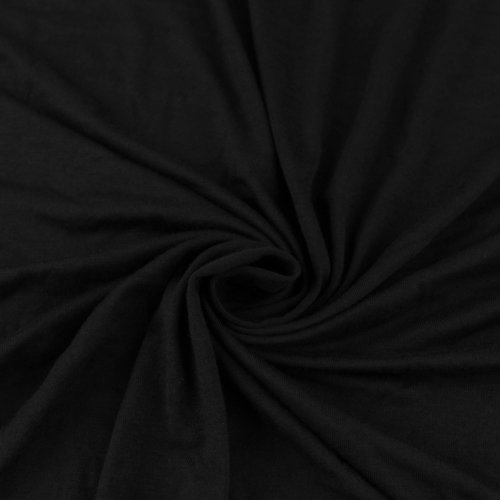 Black Rayon Jersey Stretch Knit Fabric by the Yard (Medium Weight/ 180 GSM) - 1 Yard