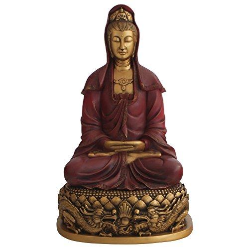- Stunning Kuan Yin Statue in Red and Gold Color, 22 Inches
