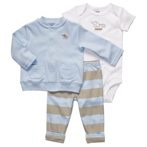 Carter's Blue & Brown 3-pc. Cardigan Set BLUE/MULTI 3 Mo