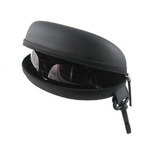 Action Sports Protective Semi Hard Sunglasses / Eyeglasses Case with Black Zipper & Hook | 100% Money Back Guarantee | Medium to Large Frames |