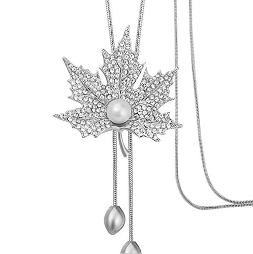 (TULIP LY Sweet Crystal Maple Leaf Pendant Necklace Pearl Adjustable Bohemian Style Flower Tassel Long Chain Sweater Necklace (Alloy-Plated-rhodanise))