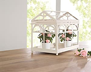 Amazing Decorative White Metal Tabletop Greenhouse / Terrarium Product SKU: GD221932
