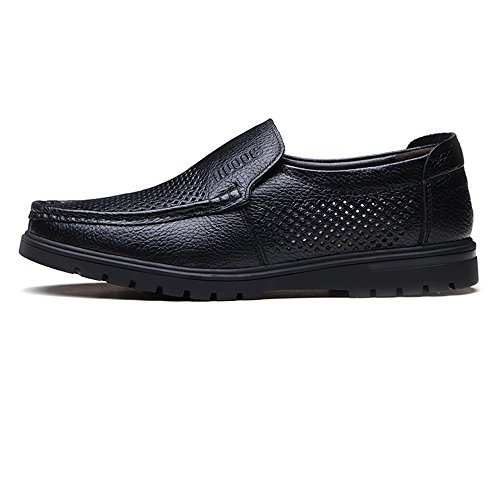 Leather Shoes, Men's Leather Shoes Genuine Cowhide Leather Upper Slip-on Flat Sole Loafer for Gentlemen (Perforation Optional) Perforation Bk