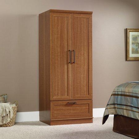 Oak Wardrobe Doors (Wardrobe, Storage Cabinet, Adjustable Shelf, Garment Rod Included, Framed Panel Doors, Metal Runners and Safety Stops, Constructed of Sturdy Engineered Wood (Sienna Oak))