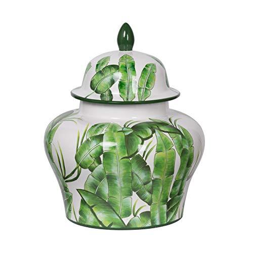 - A&B Home Lovise Palm Lidded Urn Green, White