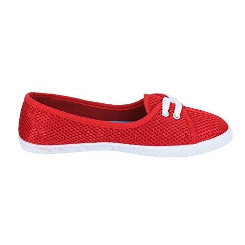 Ital-Design - Mocasines de Material Sintético para mujer Rojo - rojo