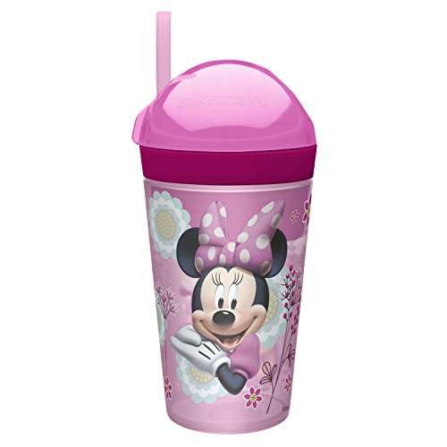 (Zak Designs Minnie ZakSnak All-In-One Drink Tumbler + Snack Container For Toddlers - Spill-proof 4oz Snack Container Screws Securely Onto 10oz Tumbler With Accessible Straw, Minnie Bowtique)
