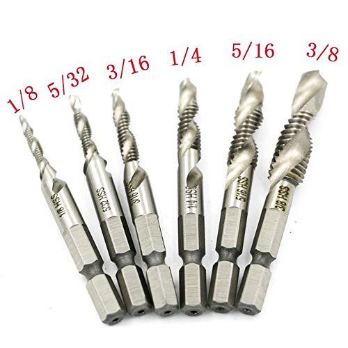 ALLPEN 6Pcs Drill Tap Combination Bit Set, 1/4 Hex Shank High Speed Steel Drill Bit Spiral Screw Thread Taps Drill Bits Set HSS 4341 Countersink Bit