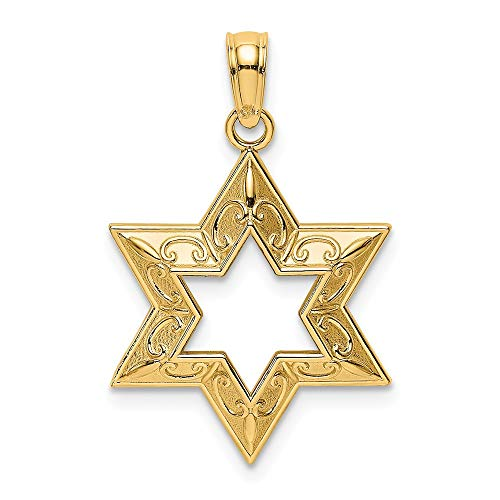 (14k Yellow Gold 2-D & Textured JEWISH STAR OF DAVID Charm)