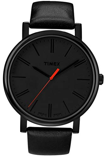 (Timex Easy Reader Black Dial Leather Strap Men's Watch T2N794)