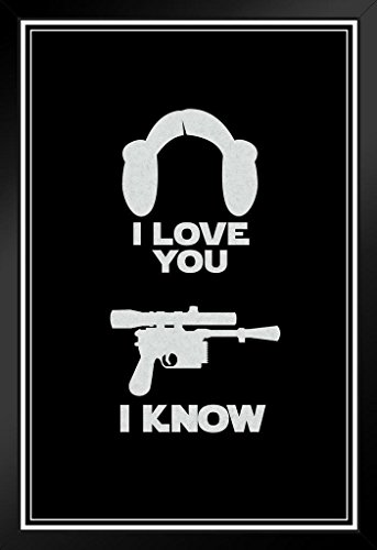 ProFrames I Love You. I Know. Hair And Blaster Movie Framed Poster 12x18 (Princess Leia Quotes)