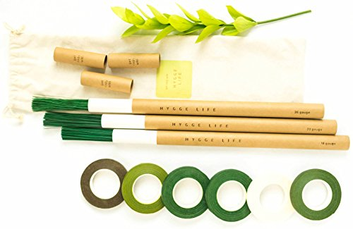 Floral Stem Wires (600 pcs) of 18, 22, 26 Gauge - Green, Brown, White Floral Tapes (6 pcs) - Premium Quality Flower Arrangement Kit with Storage Tubes and Floral Supplies Bag by Hygge Life