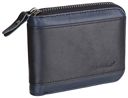 Admetus Men's Genuine Leather Short Zip-around Bifold Wallet -