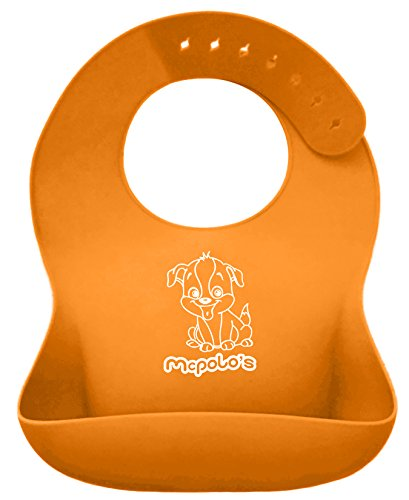 UPC 784672249171, McPolo's Very Smiley Puppy iBib 100% Portable Silicone Baby Bib - Waterproof Food Crumb Catcher Pocket Ultra Soft Easily Wipes Clean Stains Off - Best for 2 MO to 6 YO Babies Toddlers PreSchoolers