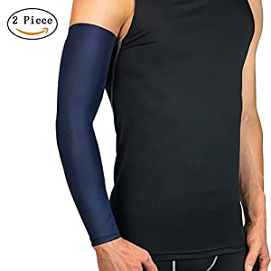 Kuke 2Pcs Elbow Sleeve - GUARANTEED Best Copper Zinc Elbow Brace With Infused Fit. Support For Workouts, Golfers And Tennis Elbow, Arthritis, Tendonitis.(Navy Blue-L)