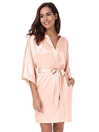 SIORO Women's Satin Robe,Silky Kimono Bathrobe for Bride Bridesmaids,Wedding Party Loungewear Short,Shell Pink XL -