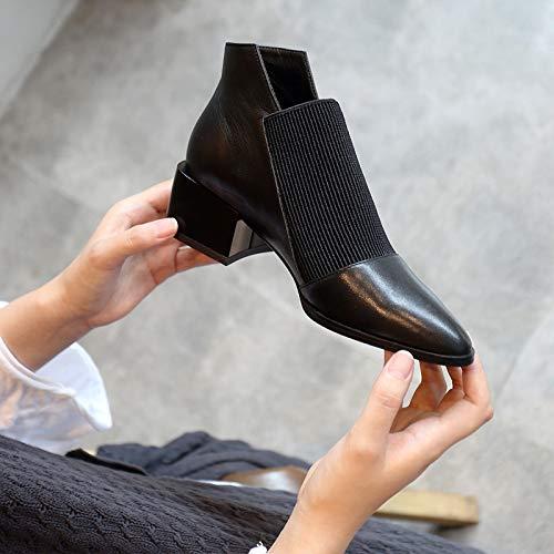 Martin Botines Mujer Tubo Retro Black Pequeños Corto Con Zapatos Hoesczs Botas Otoño De Individuales Boots Gruesa Cuero Invierno Señaló AqAH1xw