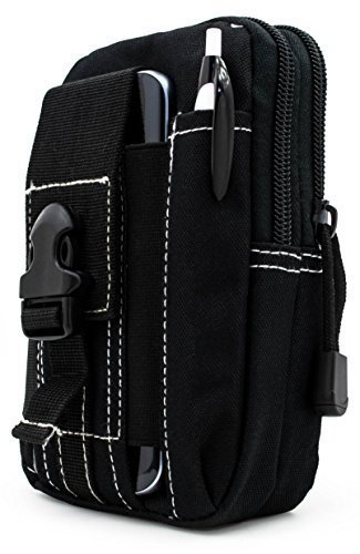 Bastex Universal Multipurpose Tactical Cover Smartphone Black Holster EDC Security Pack Carry Case Pouch Belt Waist Bag Gadget Money Pocket for iPhone 6s Samsung Galaxy S7 Note5 LG G5 iPhone 7 (Case Carry Pocket)