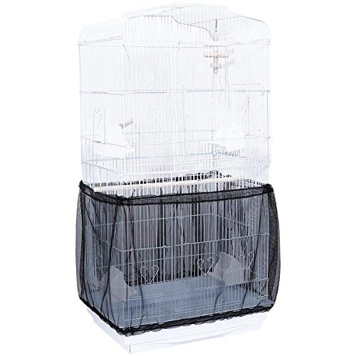 Niome Birds Cage Seed Catcher Seeds Guard Parrot Nylon Mesh Net Cover Stretchy Shell Skirt Traps Cage Basket - Seed Guard Elastic
