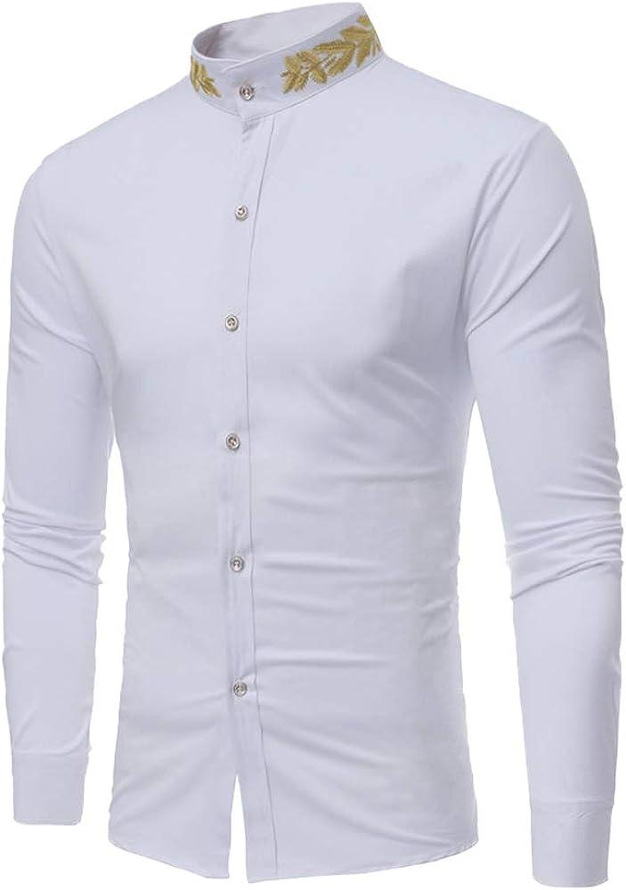 Slim Fit Hombre Casual Camisa con Botones Sin Cuello Manga Larga Impreso Blusa Blanco S: Amazon.es: Ropa y accesorios