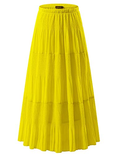 NASHALYLY Long Chiffon Skirts for Women - Elastic High Waist Pleated A-Line Flared Maxi Skirts (Yellow, 3XL)