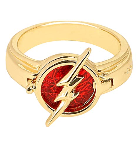 Flash Ring The Flash Season 5 Cosplay Accessories Gloden with Red Zinc Alloy for Men Women Boys