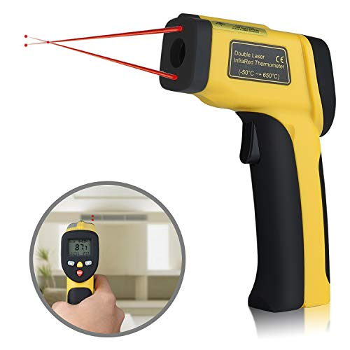 Dual Laser Infrared Thermometer Instant Read Non-contact Digital Temperature Gun Adjustable Emissivity for Meat Grill Candy Food Cooking Oven Refrigerator Water Oil Pool Kitchen -58 to 1202 °F