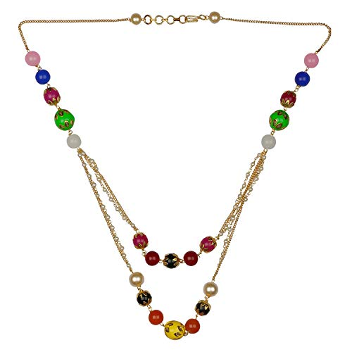 Efulgenz Pearl Chain Multi Layered Necklace Indian 14 K Gold Plated Red Faux Multicolor Beads Strand Fashion Costume ()