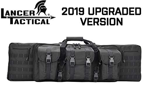 Lancer Tactical 42-inch 600 Denier Polyester Double Carbine Soft Case Front Accessory Pouches MOLLE Webbing 25-inch Secondary Compartment Quick Detach Buckles Inner Storage Backpack Straps - Black
