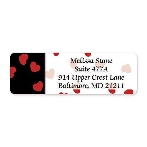 Black & Red Valentine Designer Rolled Address Labels - 250 Labels per Roll - 2 1/2 Inches Long x 3/4 Inch High - Elegant Plastic Dispenser Included