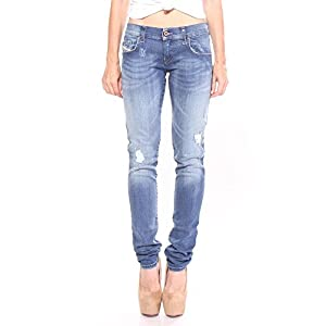 Diesel Women's Grupee R8840 Super Slim-Skinny Low Waist Jeans 98% Cotton 2% Elastane